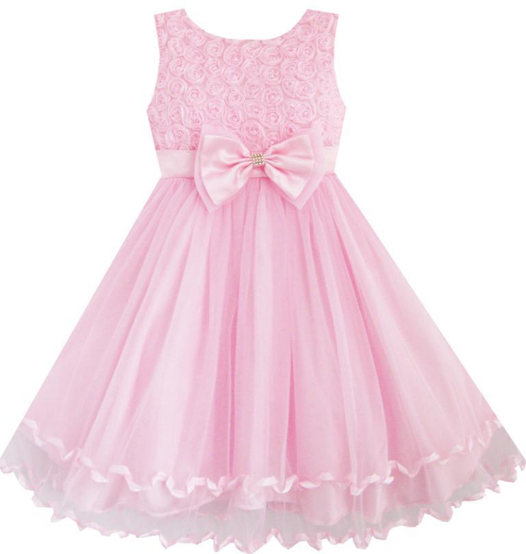sunny fashion vestir a las nias pink rose pajarita la fiesta de cumpleaos de la boda