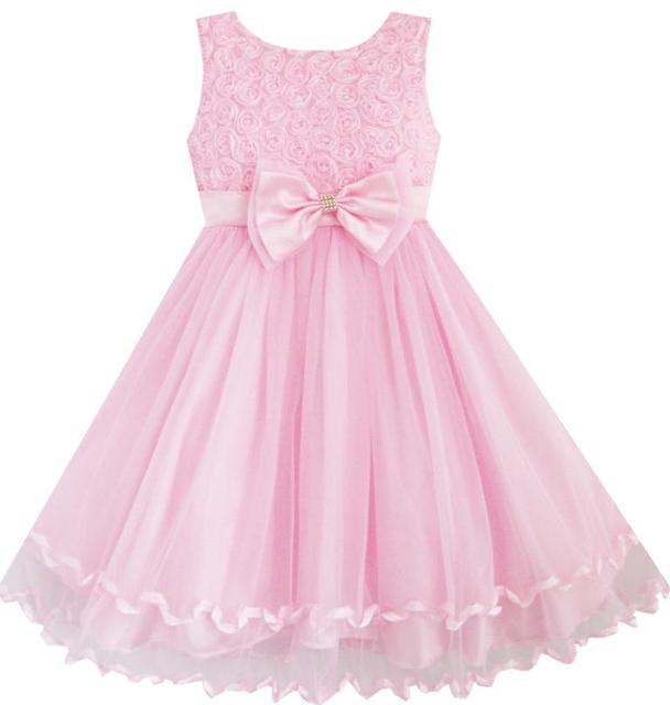 700a859e4 Sunny Fashion Vestir a las niñas Pink Rose Pajarita la fiesta de cumpleaños  de la boda