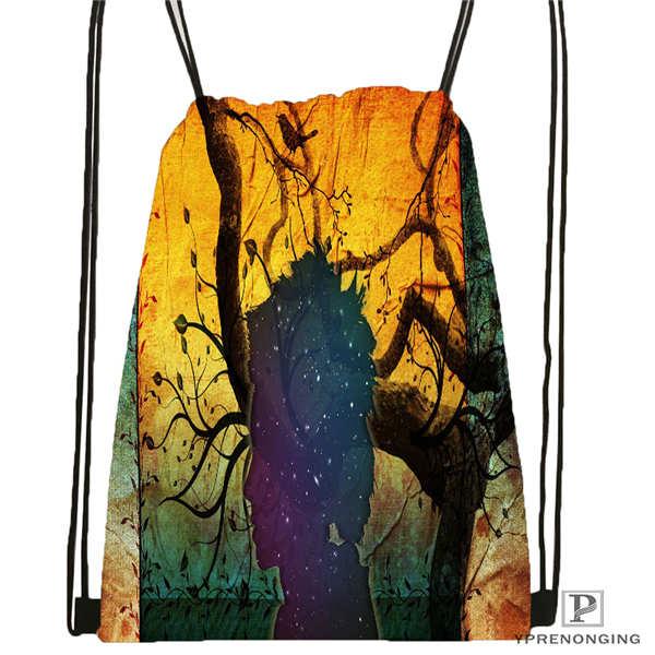 Custom Psychedelic_vision Drawstring Backpack Bag Cute Daypack Kids Satchel (Black Back) 31x40cm#2018612-01-7