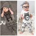 Розничная 2015 весна детская одежда детская одежда устанавливает мальчик Хлопок маленькие монстры с коротким рукавом 2 шт. детская одежда мальчика
