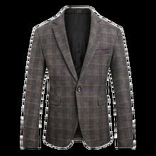 2018 Autumn Mens Long Sleeve Suit Jackets Business Casual Male Lattice Blazer Jacket Slim Fit Grid Coats Size M-5XL