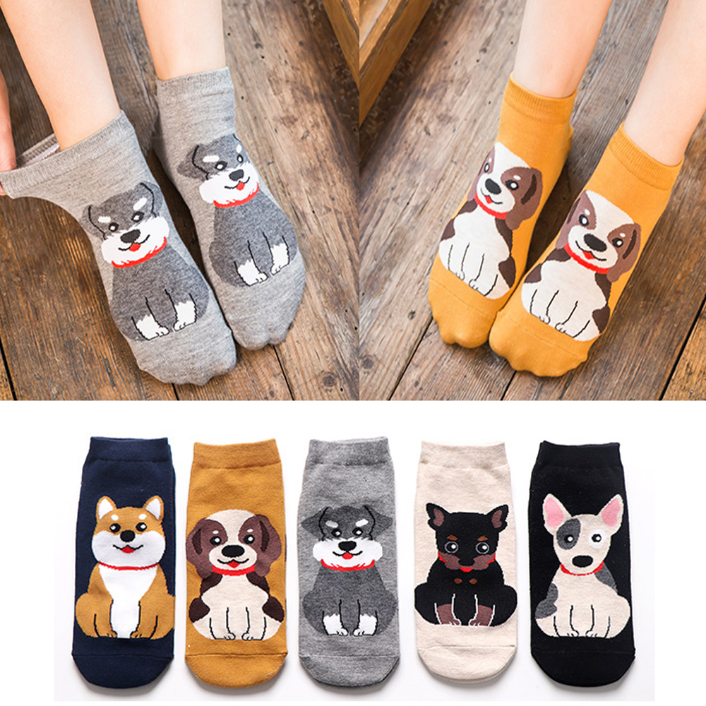 Women Socks 2019 Fashion Cartoon Kawaii Tide Shiba Bull Terrier Beagle Dog Animal Socks Creative Funny Lovely Happy Cotton Socks