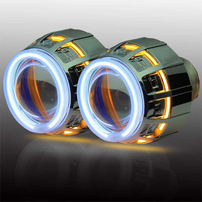 Double ring BI xenon projector lens CCFL Angel with h1 h4 h7 9005 9006 new HID light source headlights.