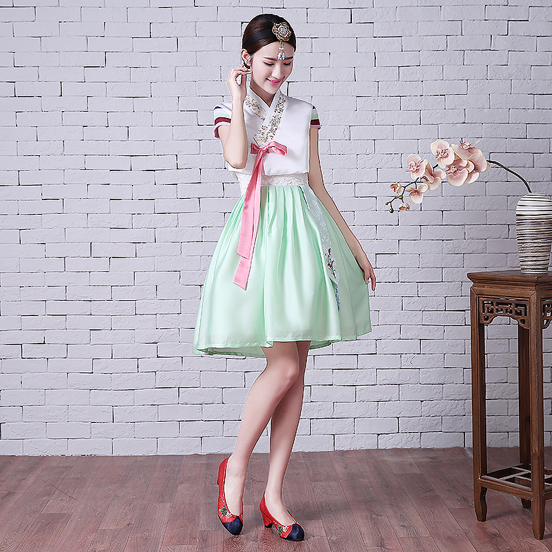 Woman Elegant Korea Hanbok Traditional Dress Female National Korean Dance Costume Embroidery Hanbok for Performance