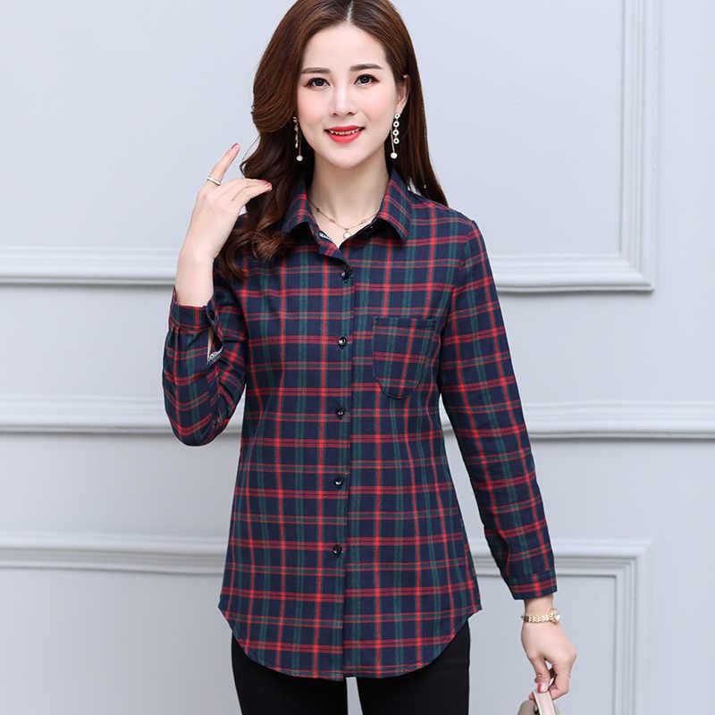ฤดูใบไม้ร่วงเสื้อแขนยาวเสื้อใหม่ลายสก๊อตเสื้อขนาดใหญ่ 5XL กลางอายุเสื้อผ้าแฟชั่นผู้หญิงเสื้อเสื้อ