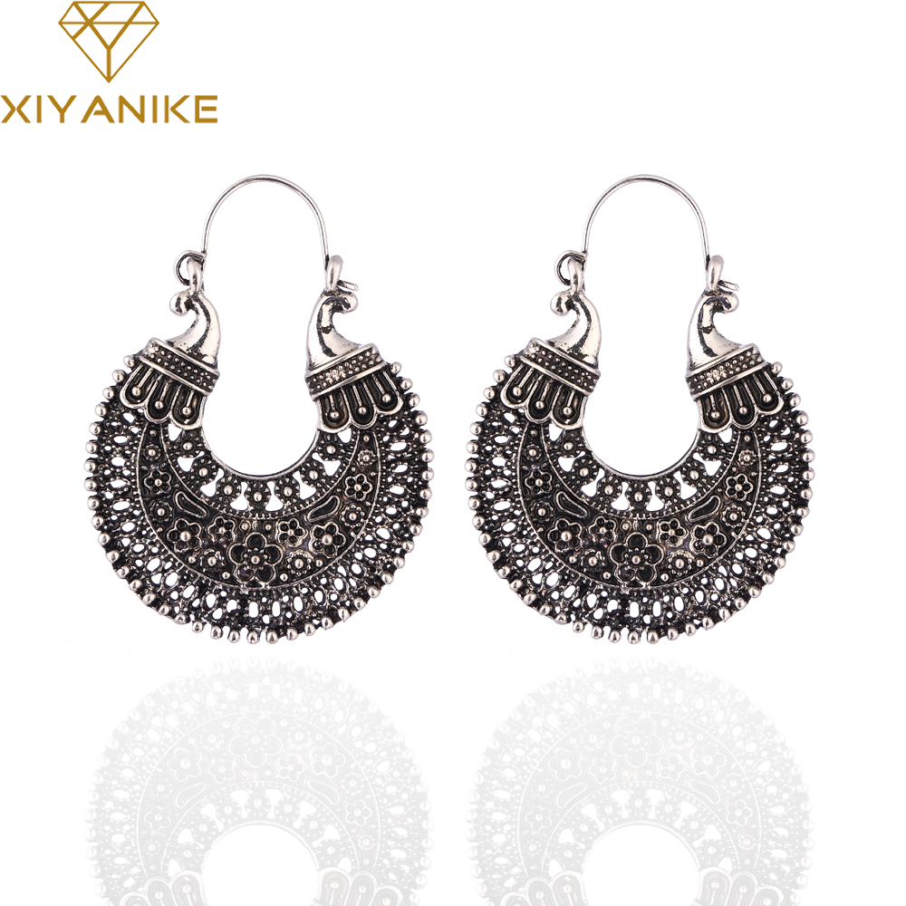 XIYANIKE 2017 New Arrival Hot Sale Fashion Retro Black Silver Earrings For Women Earrings Brinco Pendientes E1163