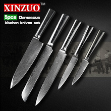 5 pcs chef knife set 73 layers Japanese VG10 Damascus kitchen knife cleaver bread utility knife Micarta handle free shipping