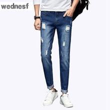 #1416 Тонкий пят Весна лето Рваные джинсы мужчины Мода Черный рваные джинсы мужчины Pantalon homme Проблемных Пастухов hombre