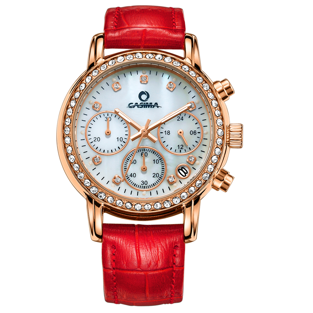 CASIMA Luxury Brand Ladies Crystal Watch Fashion Casual Women's Quartz Watches Red Leather Women Dress Wristwatches Montre Femme tezer ladies fashion quartz watch women leather casual dress watches rose gold crystal relojes mujer montre femme ab2004