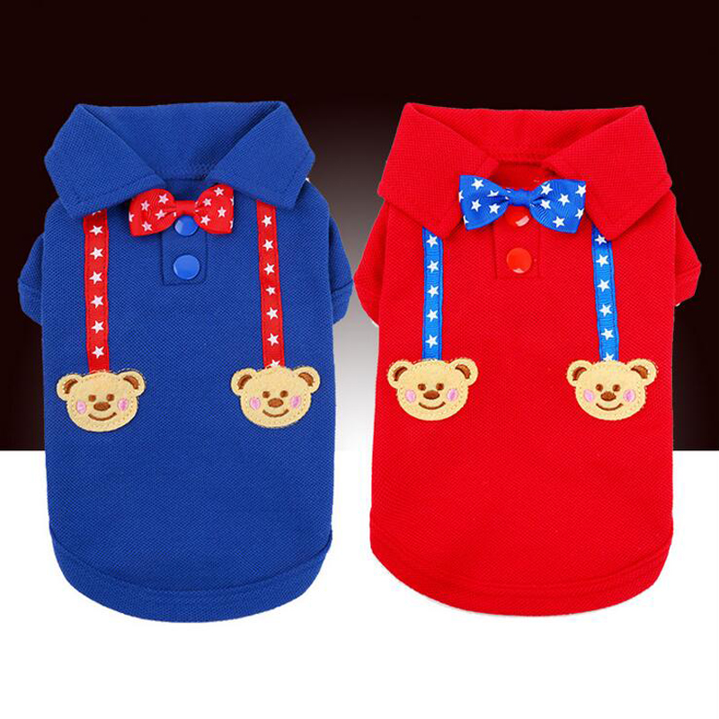 Petcircle Pet Dog Clothes Blue and Red Bowknot Dog Cat Shirts Cartoon Short Sleeve Puppy Polo