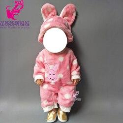 43 cm baby puppe Nette Rosa Kaninchen tier kleidung set für 18 zoll puppen Strampler anzug