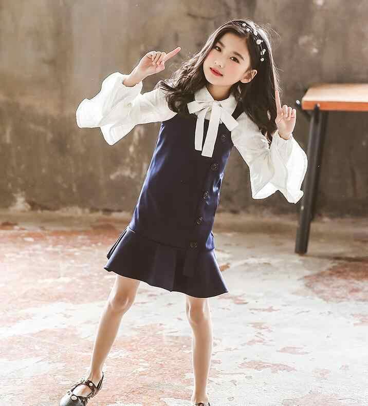 57e478598 Detail Feedback Questions about QQ59 Korean Girl Suit 2019 Spring CHildren  Clothes white Lotus leaf edge shirt + Strap skirt 2pcs Kids Suits 120 160cm  ...