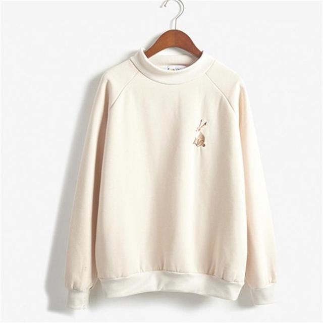 ab82ccaf1bb 2018 Women's Tunic Japan Harajuku Ulzzang College Sweatshirt Rrabbit  Embroidery Female Korean Kawaii Cute Sweatshirts For