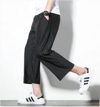 M~5XL New Men's Clothing Plus size Loose linen culottes wide leg pants crotch hanging leisure eight