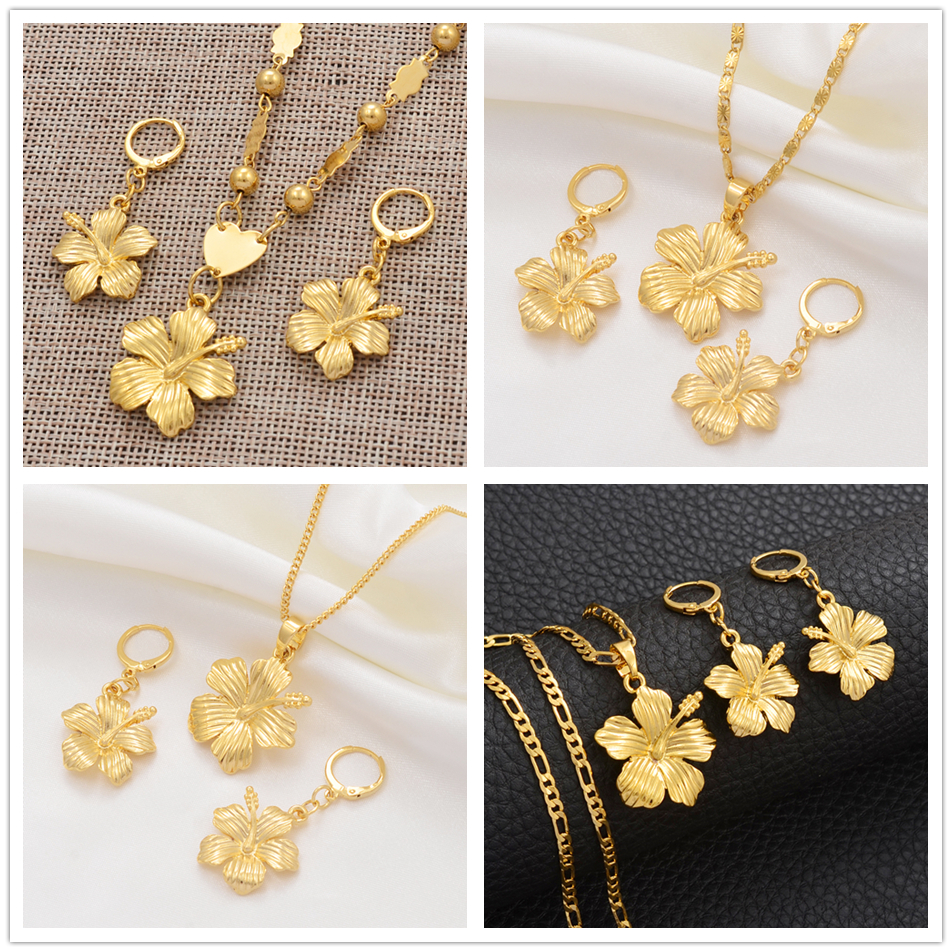 Anniyo Hawaiian Flower Jewelry Sets Pendant Necklaces Earrings Women Girls Gold Color Micronesia Guam Chuuk Kwajalein #213106