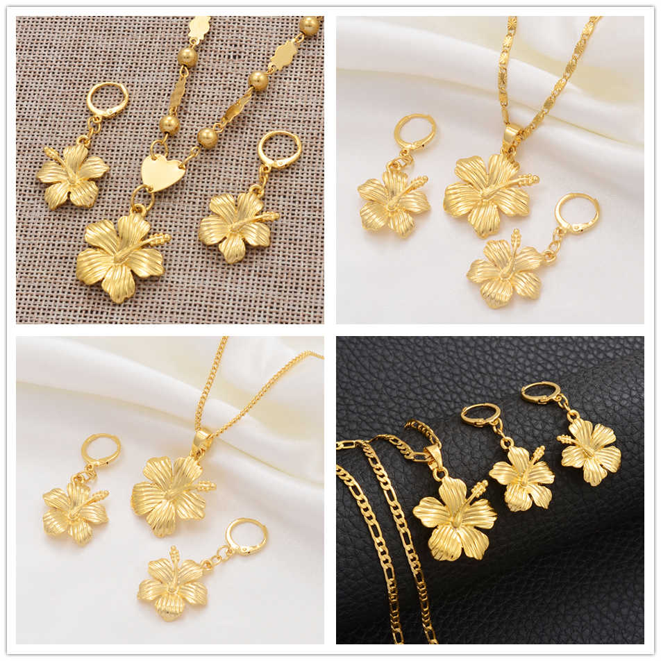 Anniyo Hawaiian Flower Jewelry Sets Pendant Necklaces Earrings Women Girls Gold Color Micronesia Guam Chuuk Kwajalein #213106