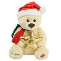 GGS 60cm Kawaii Holding the golden five pointed star Christmas hat Cute bear plush toy dolls Xmas gift for girl kids