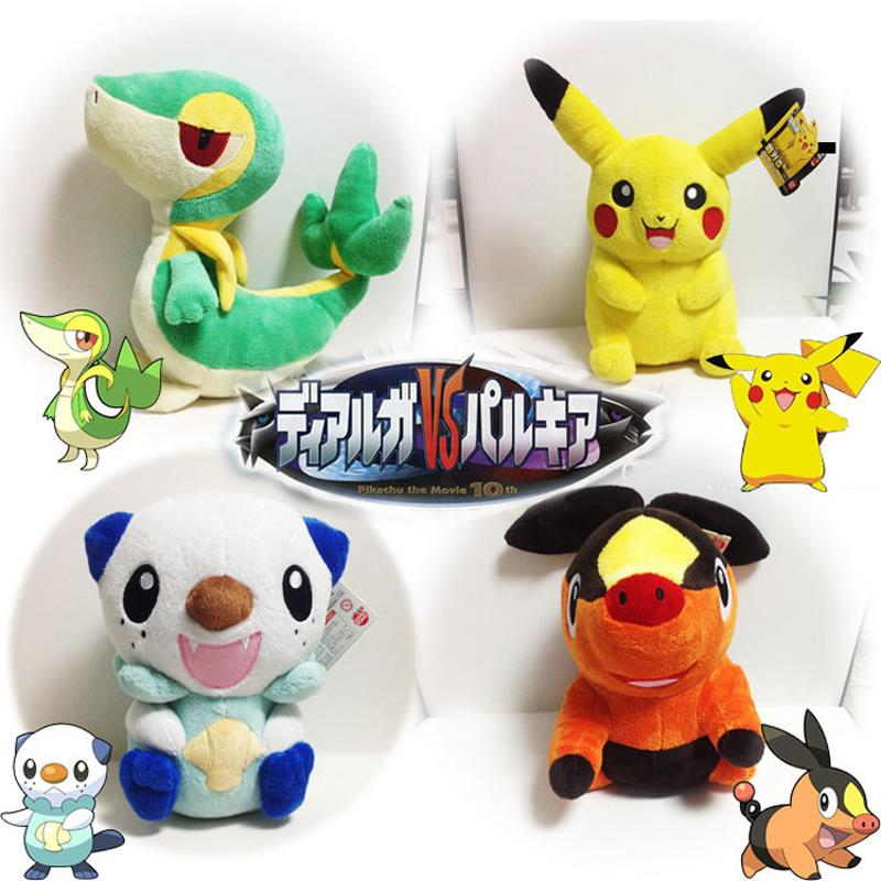 Cartoon Plush Toy Pikachu Oshawott Snivy Tepig 1pcs 30cm Soft Stuffed Animal Plush Doll With Tag Plush Toys For Children Gift 6pcs plants vs zombies plush toys 30cm plush game toy for children birthday gift