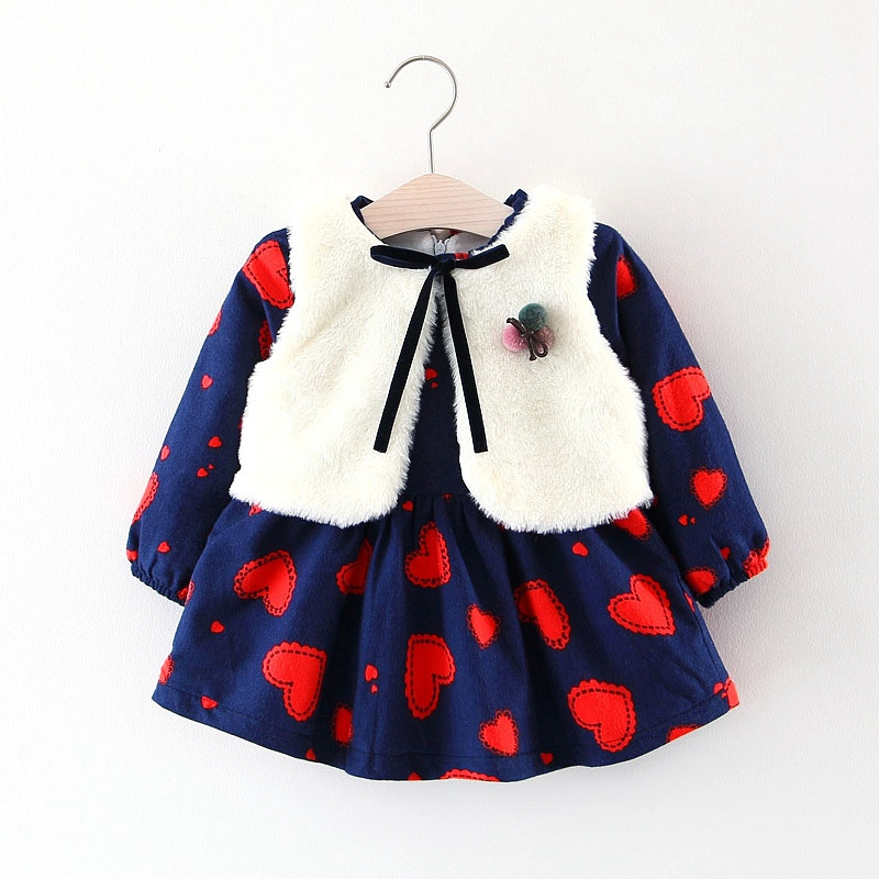 Winter Baby Girls Fleece Wool Coat Girl Dress+Fleece Cloak 2pcs Warm Thicken Fashion Girl Clothing все цены