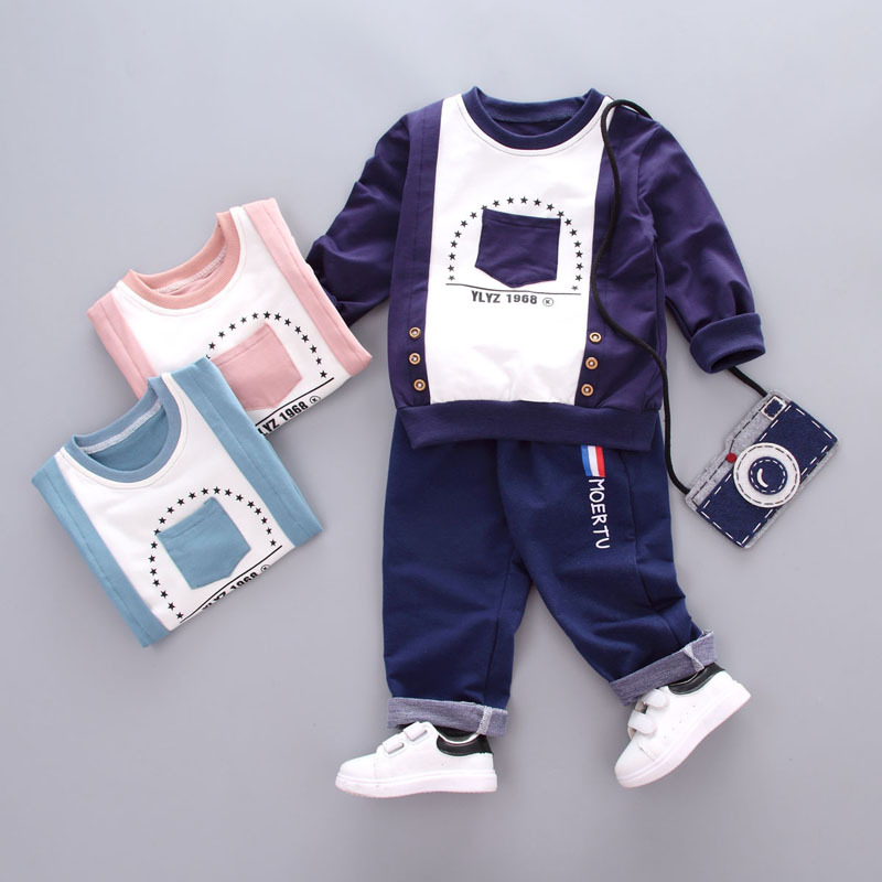 Dapchild Baby Boys Clothes Set Kids Autumn Long Sleeve t-shirt + casual long pants 2pcs suit kids clothes Children Tracksuit autumn boys clothing set baby boys 3pcs set outfits black jacket long sleeve t shirt denim long pant children clothes boys 4