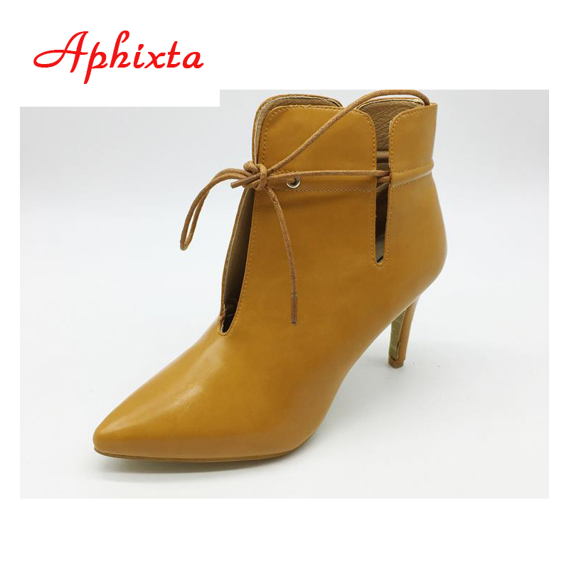 Aphixta Women Ankle Boots For Winter High Thin Heels Boots Pointed Toe Women Fashion Gladiator Tassel Shoes Woman Size CN 35-39 hot selling 2015 women denim boots pointed toe tassel patchwork knee high boots crystal thin high heels winter motorcycle boots