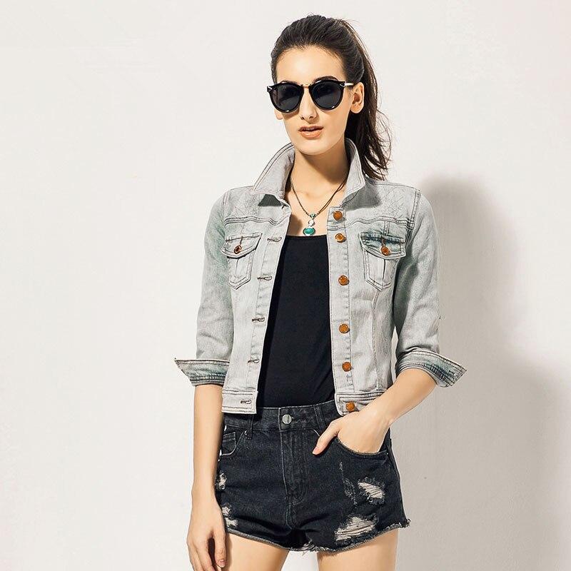 Light Color Denim Jacket Women 2015 Brand New Summer Ladies Vintag