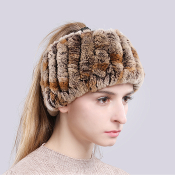 Rex Rabbit Fur Ring Scarves Warm Soft Women Genuine Rex Rabbit Fur Headbands Scarf Handmade Knitted Real Rex Rabbit Fur Scarfs