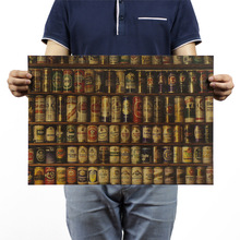 Colección de cerveza, Papel kraft clásico, cartel clásico de película, decoración escolar, decoración de garaje, decoración de pared, arte, impresiones escolares Retro