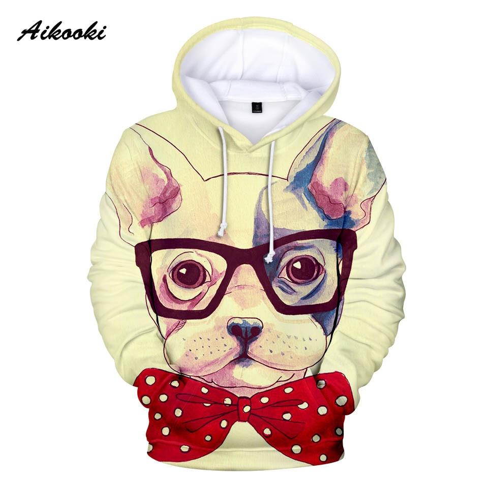 Aikooki Französisch Bulldog 3d Hoodies Männer/frauen Mode Frühjahr Hoodie Nette Französisch Bulldog Lustige Design Junge/mädchen Sweatshirts Hoody 3d Verkaufsrabatt 50-70%