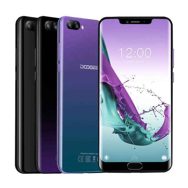 DOOGEE Y7 Plus CellPhone 6.18inch 1080*2246 Screen MTK6757 Octa-Core 2.5GHz 6GB RAM 64GB ROM 16.0MP+13.0MP 5080mAh Android 8.1