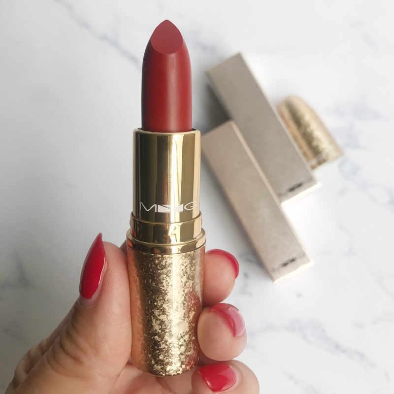 最高品質の化粧金属マット赤口紅栄養口紅プロフェッショナル化粧品ロング持続防水唇船