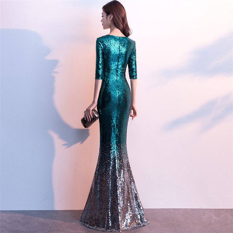 Image 3 - It's Yiiya Sequined Prom dress V neck half sleeve long shinny party Gowns Floor length zipper back Mermaid evening dresses C077-in Evening Dresses from Weddings & Events