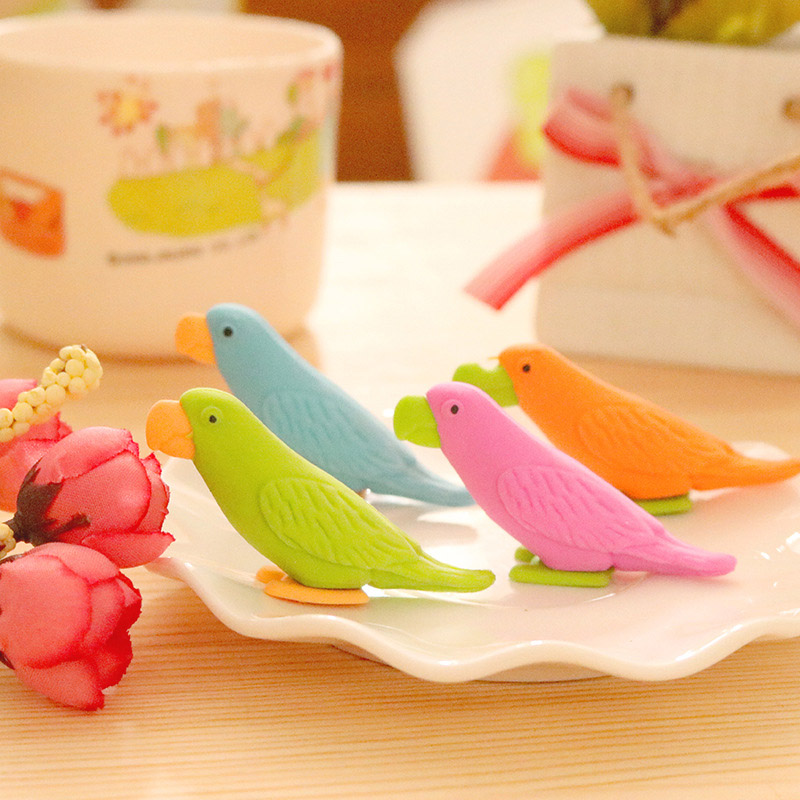 Cute Kawaii Parrot Pencil Eraser Creative School Rubber For Drawing Kids Gift Korean Stationery Student 2753
