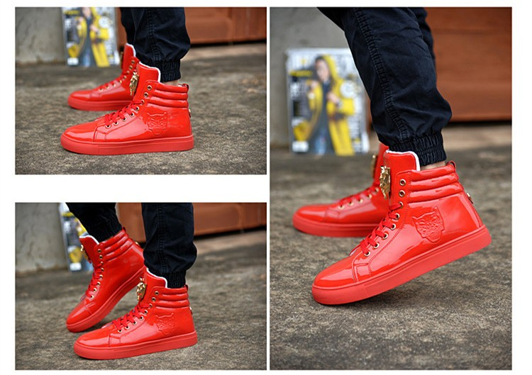 Fashion Leopard Sequined Skate Shoes For Men Ankle Boots 2015 New PU Patent Leather Shoe High Top Casual Flats Medusa Shoes F184 (21)