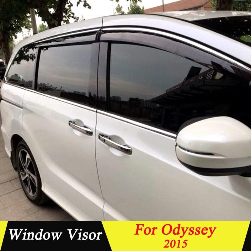 For Honda odyssey 2015 Plastic Black Window Visor Vent Shades Sun Rain Deflector Guard Auto Accessories 4PCS/SET Awnings & Shelters     - title=