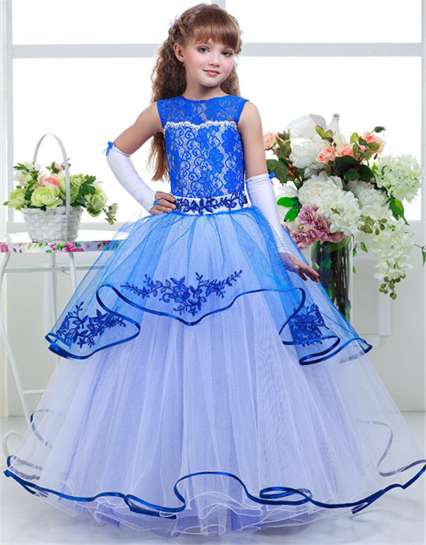 New Blue Lace Puffy Flower Girl Dresses O-Neck Ruffles Lace Up Ball Gown Customized Vestidos De Comunion First Communion Gowns 2017 pretty pink first communion dress with bow puffy flower girl dresses girl pageant gown vestido de primera comunion