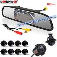 Koorinwoo Multicolor HD Car Video Parking 8 Sensors Monitor Front Camera Rear view Camera With Mirror Monitor Black White Grey