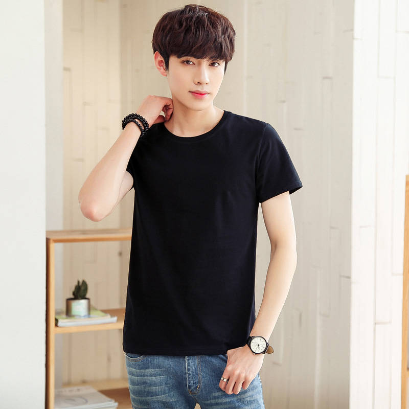 Short-sleeved T-shirt In Plain Colour Men's Underwear Student's Korean Fashion T-shirt With Round Collar And Half Sleeve