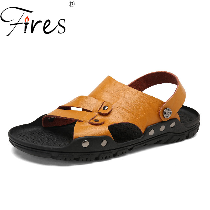 Fires Summer Men Leather Sandals Solid Color Slipper Man Comfortable Shoes Fashion Sandalia Masculina Casual Male Flat Sandal