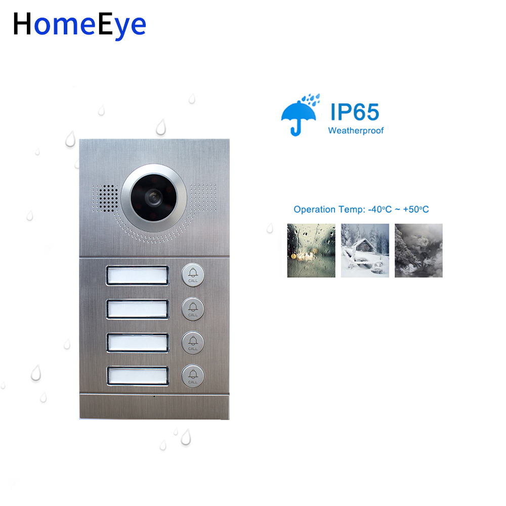 HomeEye 7 inch Video Door Phone Video Intercom Multi Apartments Home Access Control System for 4 Separate Family Waterproof CMOS in Video Intercom from Security Protection