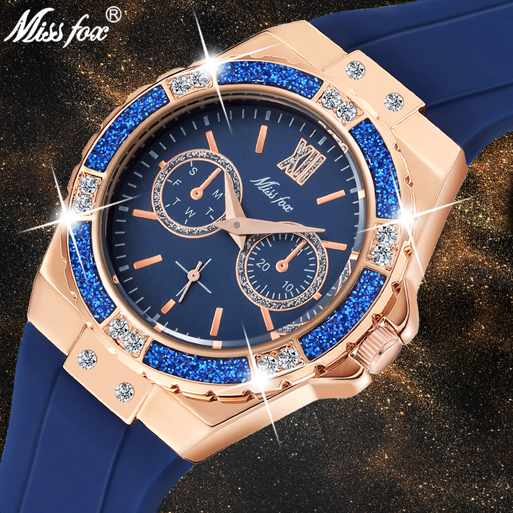 MISSFOX Women's Watches Chronograph Rose Gold Sport Watch Ladies Diamond Blue Rubber Band Xfcs Analog Female Quartz Wristwatch 1