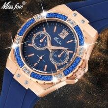 MISSFOX Womens นาฬิกา Chronograph Rose Gold นาฬิกาสุภาพสตรีเพชรยางสีฟ้า Xfcs Analog นาฬิกาข้อมือควอตซ์หญิง
