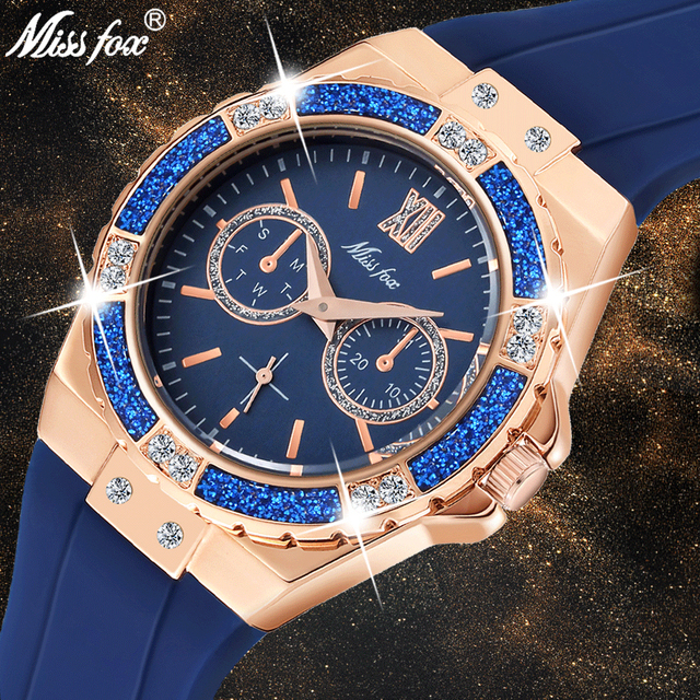 Missfox 여성용 시계 크로노 그래프 로즈 골드 스포츠 시계 숙녀 다이아몬드 블루 고무 밴드 xfcs 아날로그 여성 쿼츠 손목 시계