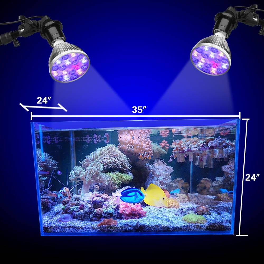 Led Aquarium Lamp 36W Fish Tank Light Full Spectrum Marine Aquariums Fish Aquarium Lighting Aquarium E27 Led Grow Light