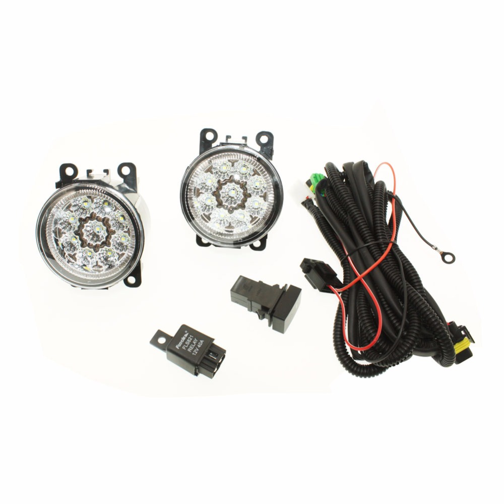 For MITSUBISHI L200 KB_T KA_T Pickup  H11 Wiring Harness Sockets Wire Connector Switch + 2 Fog Lights DRL Front Bumper LED Lamp for subaru outback 2010 2012 h11 wiring harness sockets wire connector switch 2 fog lights drl front bumper 5d lens led lamp