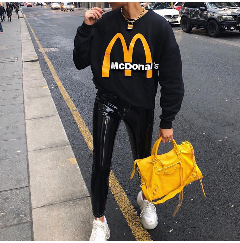 Artsnie Spring 19 Black Casual Knitted Sweatshirt Women O Neck Long Sleeve Loose Pullovers Letter Streetwear Sweatshirts Mujer 5