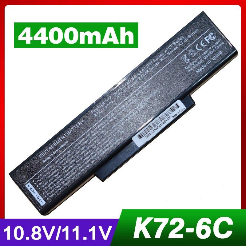 4400mAh laptop battery for ASUS 70-NX01B1000Z 70-NXH1B1000Z A32-K72 A72 A72D A72DR A72F A72J A72JK A72JR K72 K72D K72DR K72DY