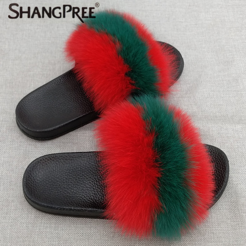 7544a45763b Large size Women Furry Slippers Ladies Cute Plush Fox Hair Fluffy Slippers  Women s Fur Slippers for Women Comfy Furry Flip Flops