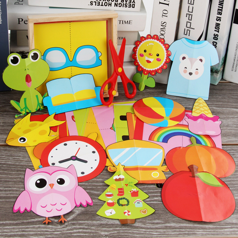 60pcs Kids cartoon color paper folding and cutting toys wooden storage box/children kingergarden art craft DIY educational toys-in Craft Toys from Toys & Hobbies
