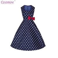 Coromose Women's 1950s Vintage Bowknot Polka Dots Sleeveless Fashion Retro Swing O-Neck Summer Casual Dress